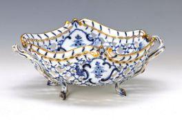 Anbietschale, Meissen, um 1850-60, Porzellan, blaues Zwiebelmuster unter der Glasur, Goldränder, ca.
