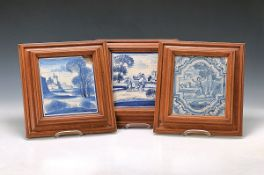 Drei Fayencebilder, Frankfurt und Hanau, um 1720-1770, Blaumalerei, versch. Darstellungen, Taufe von