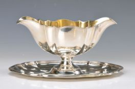 Sauciere, Koch & Bergfeld, um 1910, Sterlingsilber, doppelte Vierpassform, innen vergoldet, gepunzt,