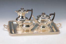 Tablett und Kaffee- bzw. Teeset, Walker & Hall, Sheffield, Metall versilbert, dunkle Holzgriffe,