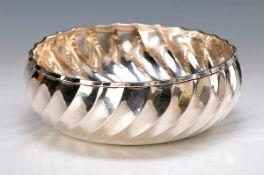 Silberschale, Italien, Mitte 20. Jh., Rippendekor leicht gedreht, 800er Silber, ca. 6 cm, D. 17