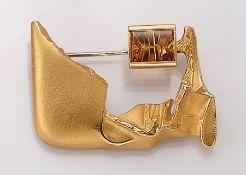 18 kt Gold LAPPONIA Brosche mit Citrin, Finnland, 1993, GG 750/000, ausgefallenes Design by Björn