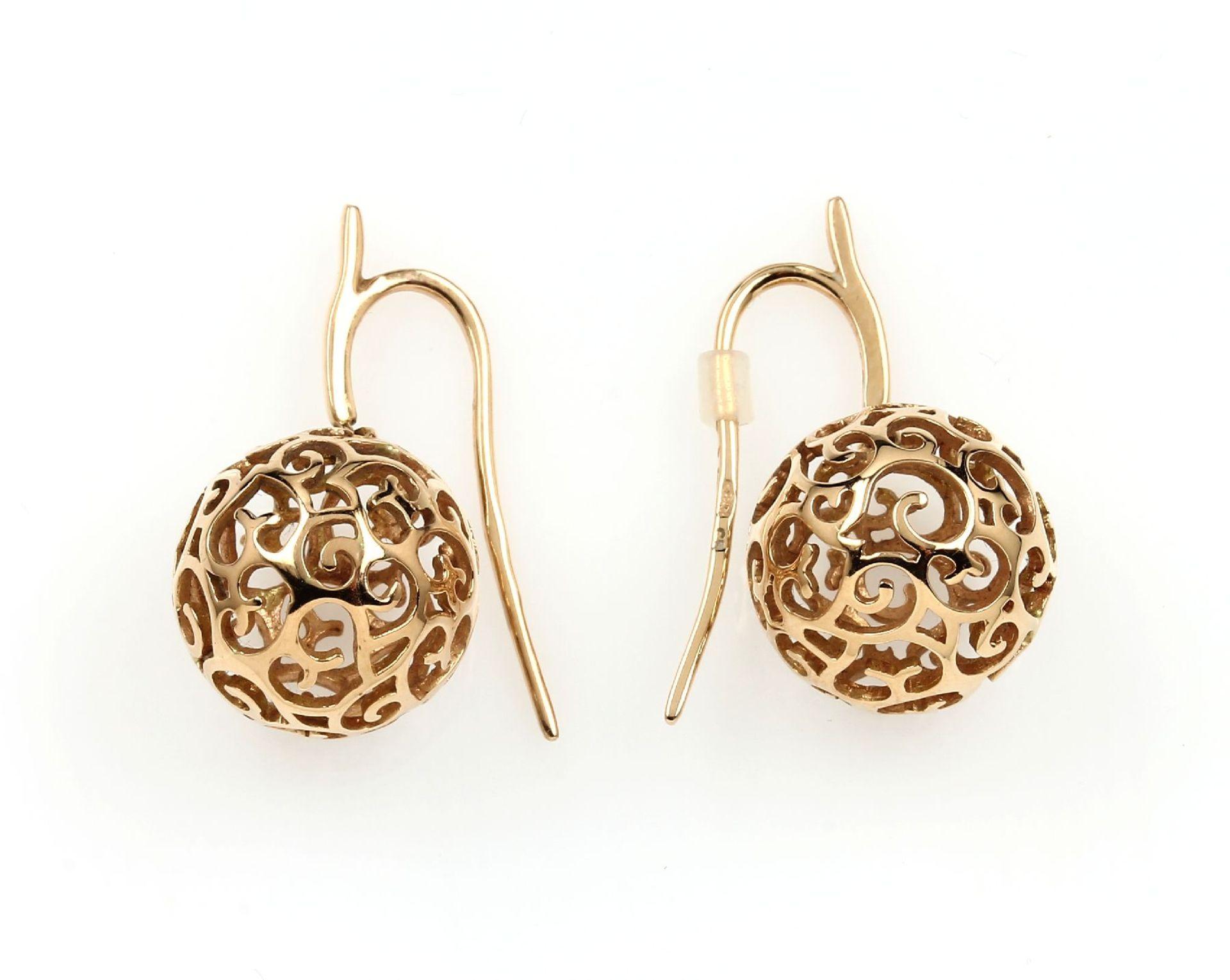 Paar 18 kt Gold BUCHERER Ohrhänger, RoseG 750/000, ausgefallenes Design, Kugelabhängungen mit