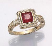 14 kt Gold Ring mit Rubin und Brillanten, GG 585/000, Rubincarree (beh.) ca. 1.88 ct, 96Brill.