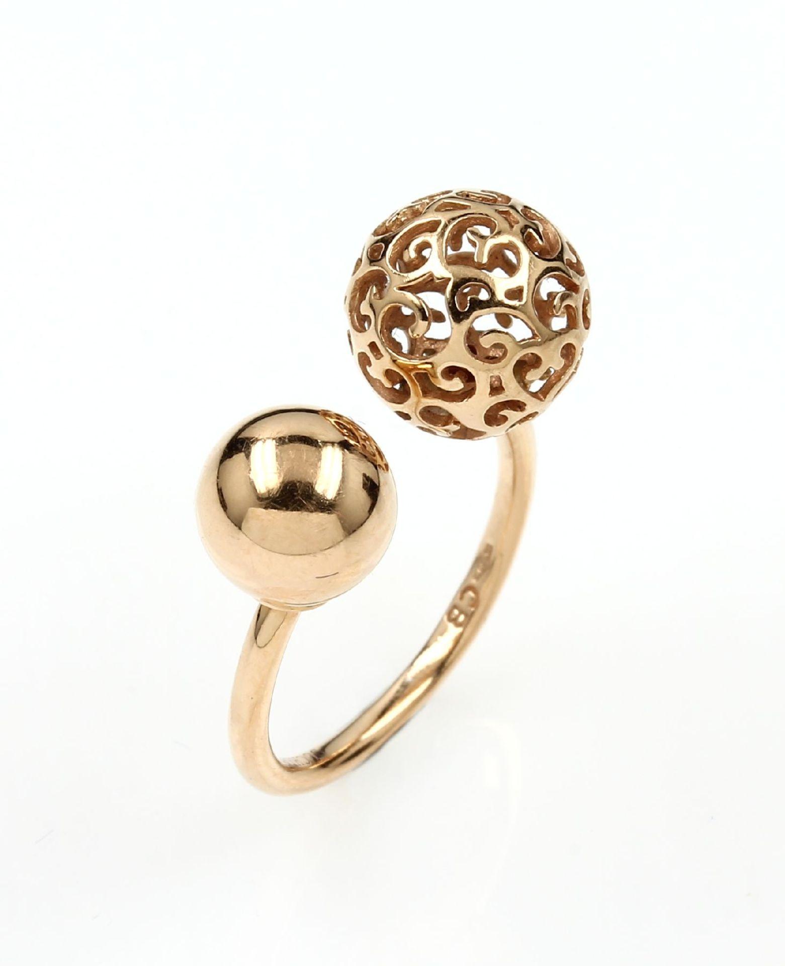 18 kt Gold BUCHERER Ring, RoseG 750/000, ausgefallenes Design, Ringschiene nach oben geöffnet, 1