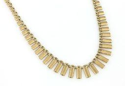 14 kt Gold Collier, GG 585/000, teilsatiniert, verlaufend, total ca. 24.3 g, L. ca. 46 cm,