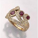 14 kt Gold Ring mit Rubinen und Brillanten, GG 585/000, 3 rundfacett. Rubine zus. ca. 1.48ct, 50