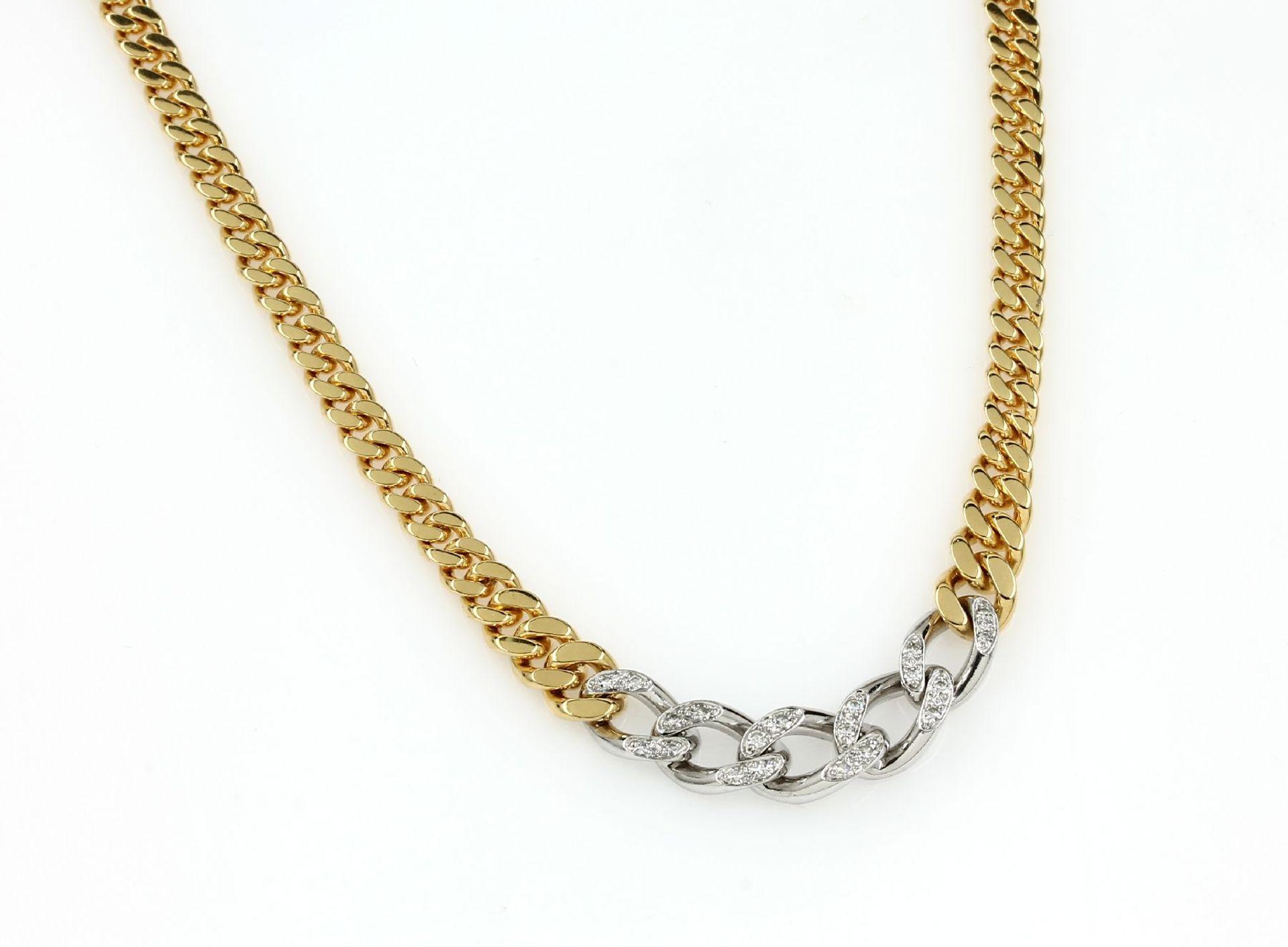 18 kt Gold Collier mit Diamanten, GG/WG 750/000, Flachpanzerglieder, mittig 20 8/8-Diamanten zus.