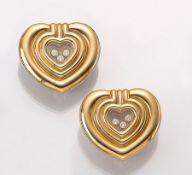 """Paar 18 kt Gold CHOPARD Ohrstecker, aus der Serie """"Happy Diamond"""", GG 750/000, Herze, 6Brillanten"""