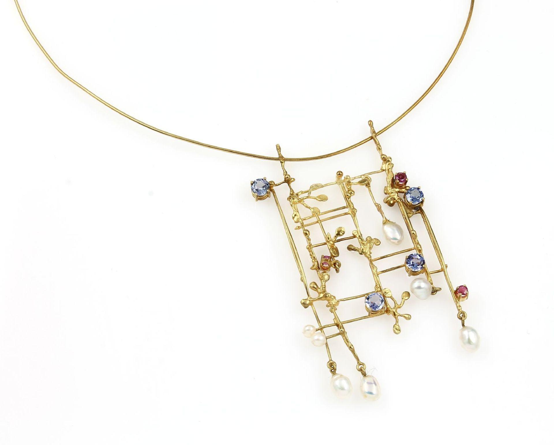 18 kt Gold Designer Collier mit Farbsteinen, GG 750/000, ausgefallenes Design, besetzt mit