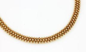 14 kt Gold Collier, GG 585/000, total ca. 74.1 g, L. ca. 45 cm, Meistermarke unged., Kastenschloß