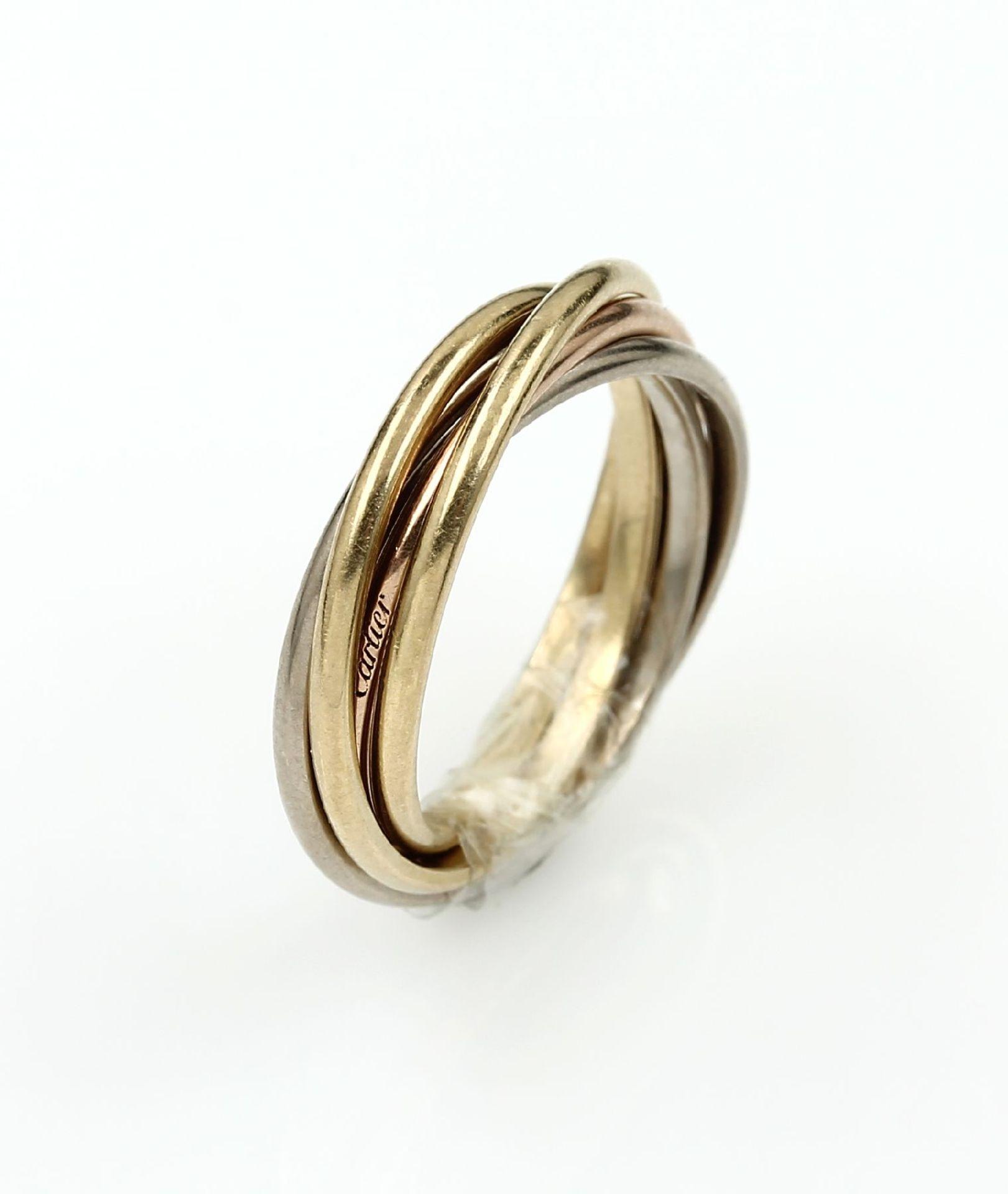 18 kt Gold CARTIER Trinity 5 Band Ring, GG/WG/RG 750/000, sign. und num., RW 5018 kt gold CARTIER