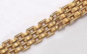 18 kt Gold Armband, GG 750/000, total ca. 40.4 g, L. ca. 18.5 cm, Kastenschließe mit