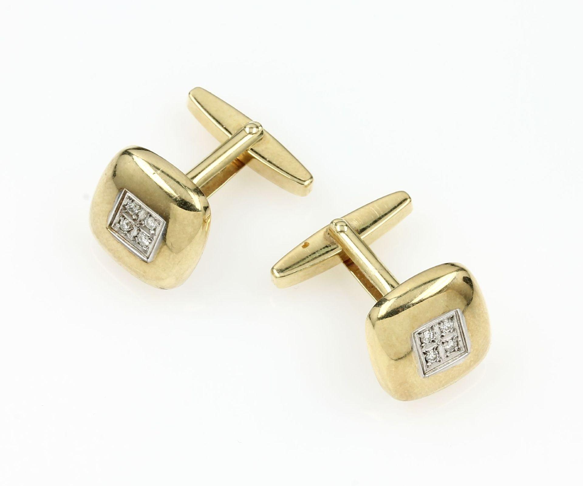 Paar 14 kt Gold Manschettenknöpfe mit Brillanten, GG/WG 585/000, in WG gefasste 8 Brillanten zus.