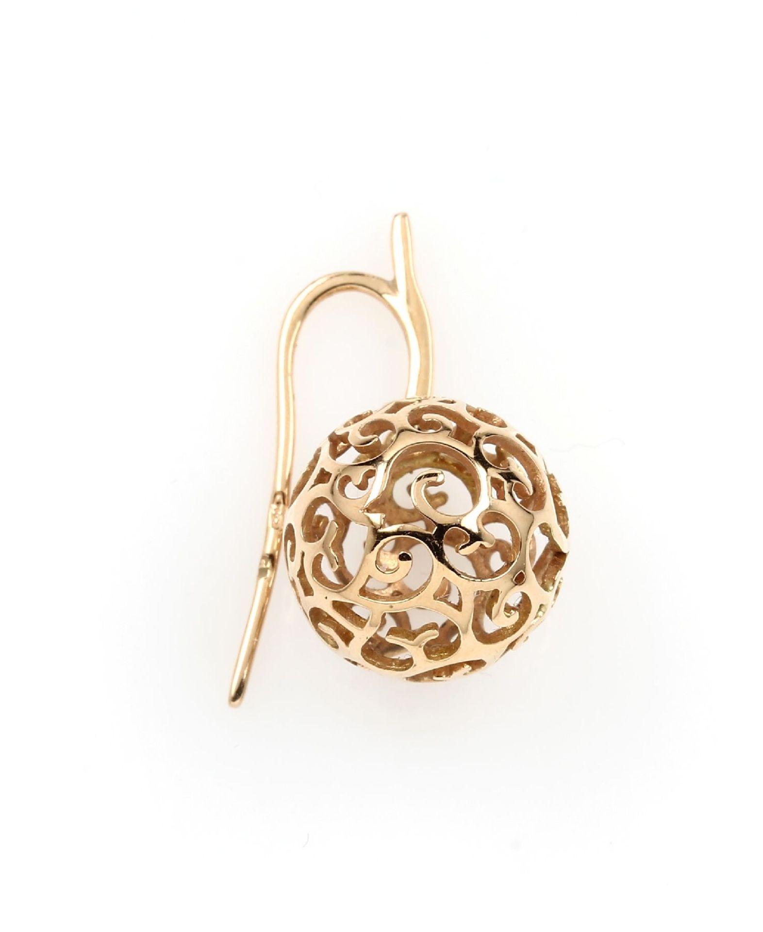 Paar 18 kt Gold BUCHERER Ohrhänger, RoseG 750/000, ausgefallenes Design, Kugelabhängungen mit - Bild 2 aus 2