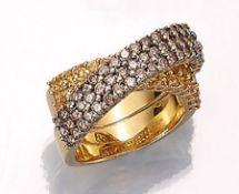 18 kt Gold Ring mit Saphiren und Brillanten, GG 750/000, überkreuzte Schiene, bes. mit 60 Brillanten