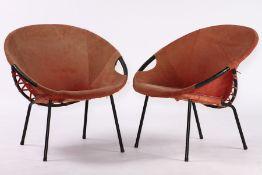 """2er Set Circle Balloon Chair, """"Lusch & Co"""", Deutschland, 1960er-Jahre, Gestell schwarz lackiert,"""