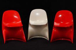 """3er Set Kinderstühle """"Casalino I"""", 1973, Hersteller: Casala, made in Western Germany, Modell: 2000/"""