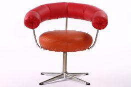 Armlehnstuhl, um 1965/70, Metallelemente verchromt, Sitzkissen mit Lederbezug in orange, halbrunde