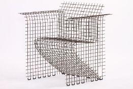 Vintage Gittersessel, 1970er-Jahre, Metall verchromt, Eisenstangen horizontal u. vertikal angeordnet