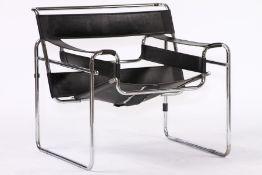 Clubsessel, im Bauhausstil von 1925, um 1965/70, Gestell aus gebogenen verchromten Stahlrohren