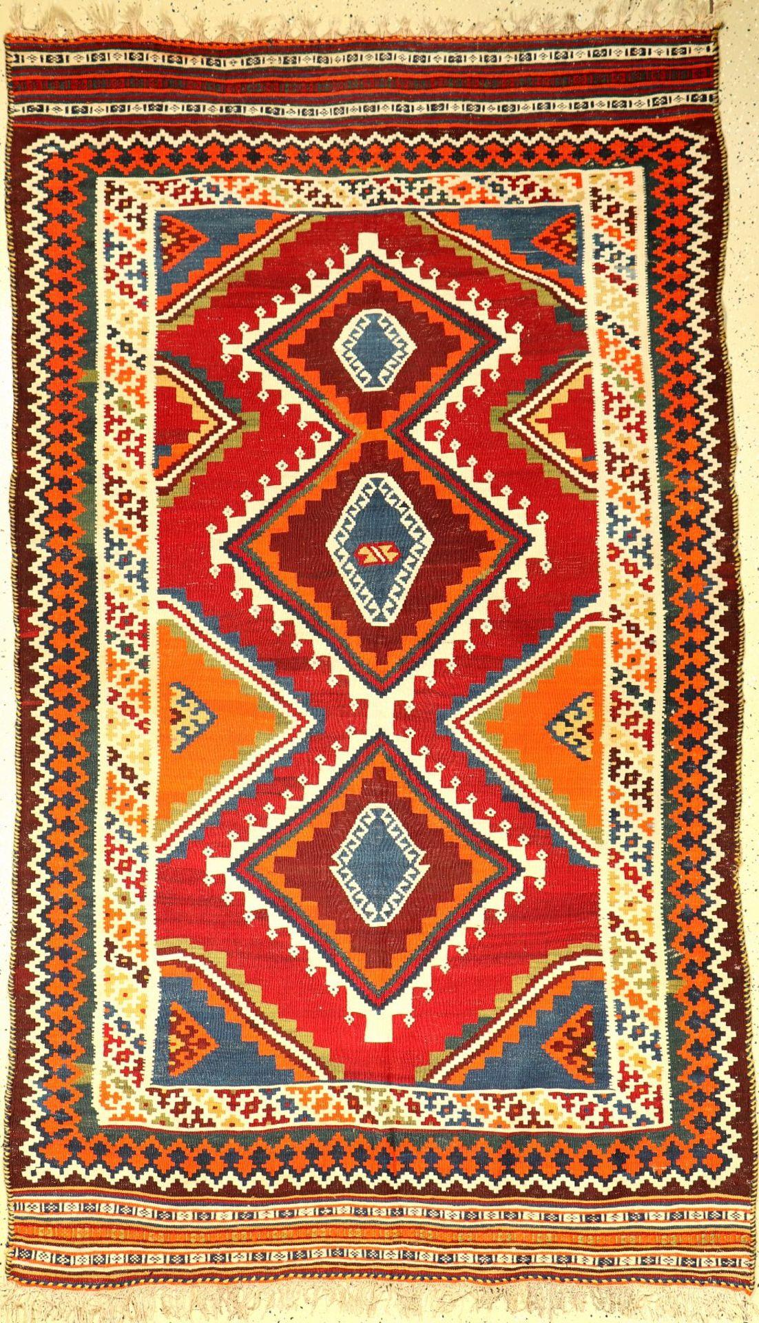 Gaschgai Kelim alt, Persien, um 1940, Wolleauf Wolle, ca. 246 x 145 cm, EHZ: 2Gaschgai Kilim old,