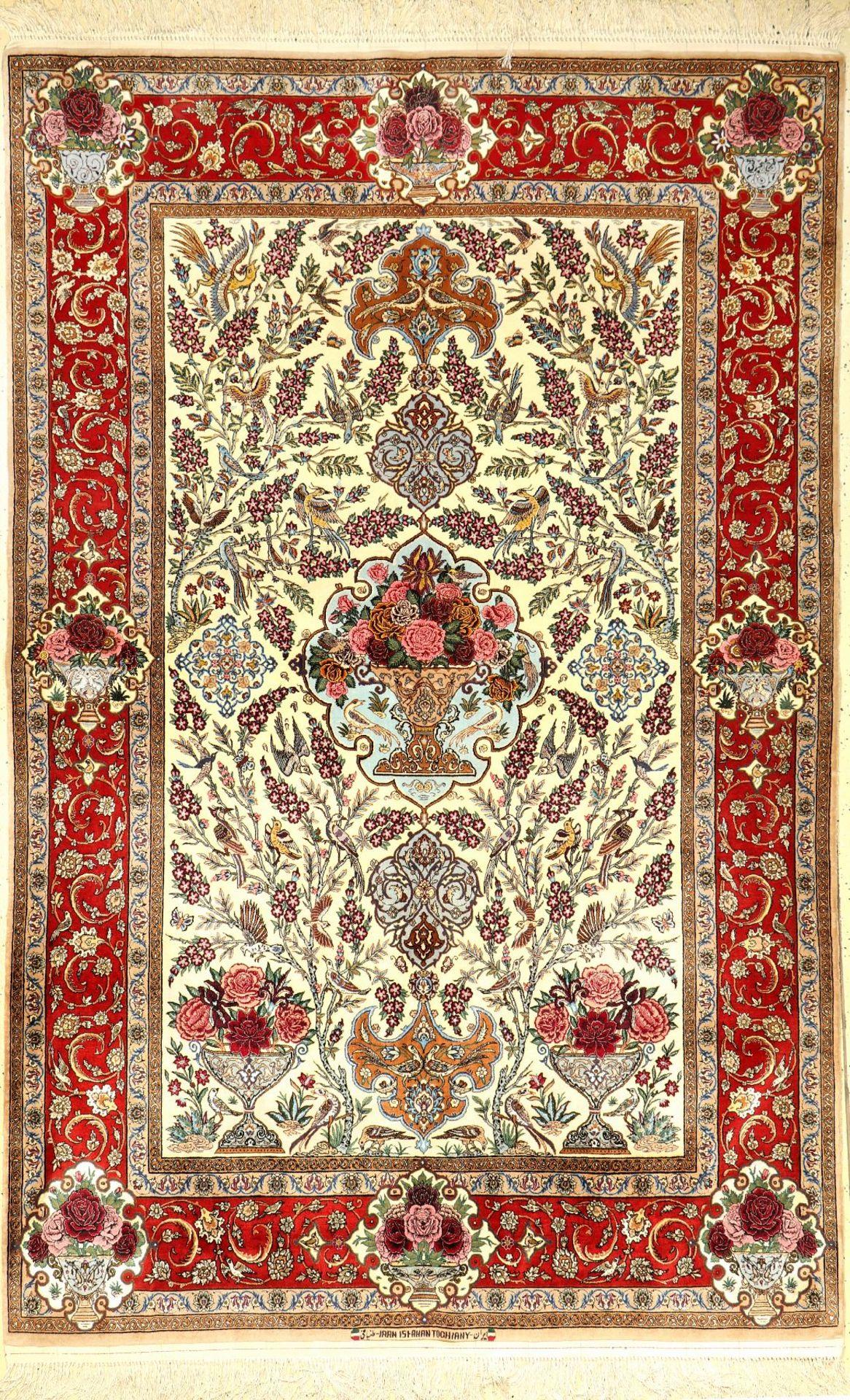 """Feiner Esfahan """"Tochiany"""" (Signiert), Persien, ca. 20.Jahre alt, Korkwolle mit und auf Seide, ca."""