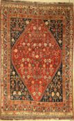Gashgai Gaschguli alt, Persien, um 1930, Wolle auf Wolle, ca. 255 x 160 cm, dekorativ, selten,