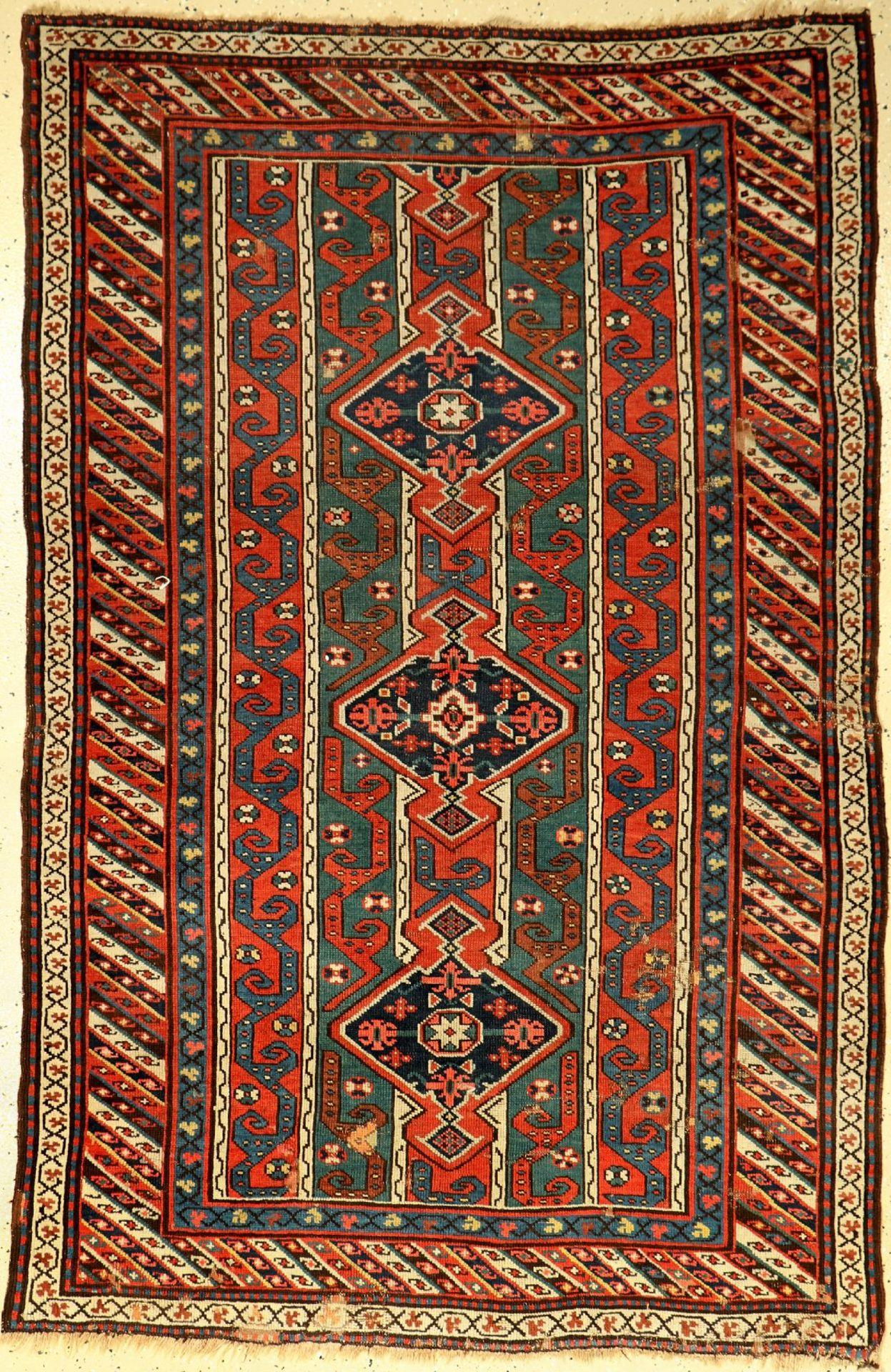 Karabagh antik, Kaukasus, um 1900, Wolle auf Wolle, ca. 193 x 125 cm, EHZ: 4-5Antique karabagh,