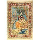 Seltener Feiner Esfahan alt, Persien, Signiert Modares, ca. 60 Jahre, Korkwolle auf Seide, ca. 160 x
