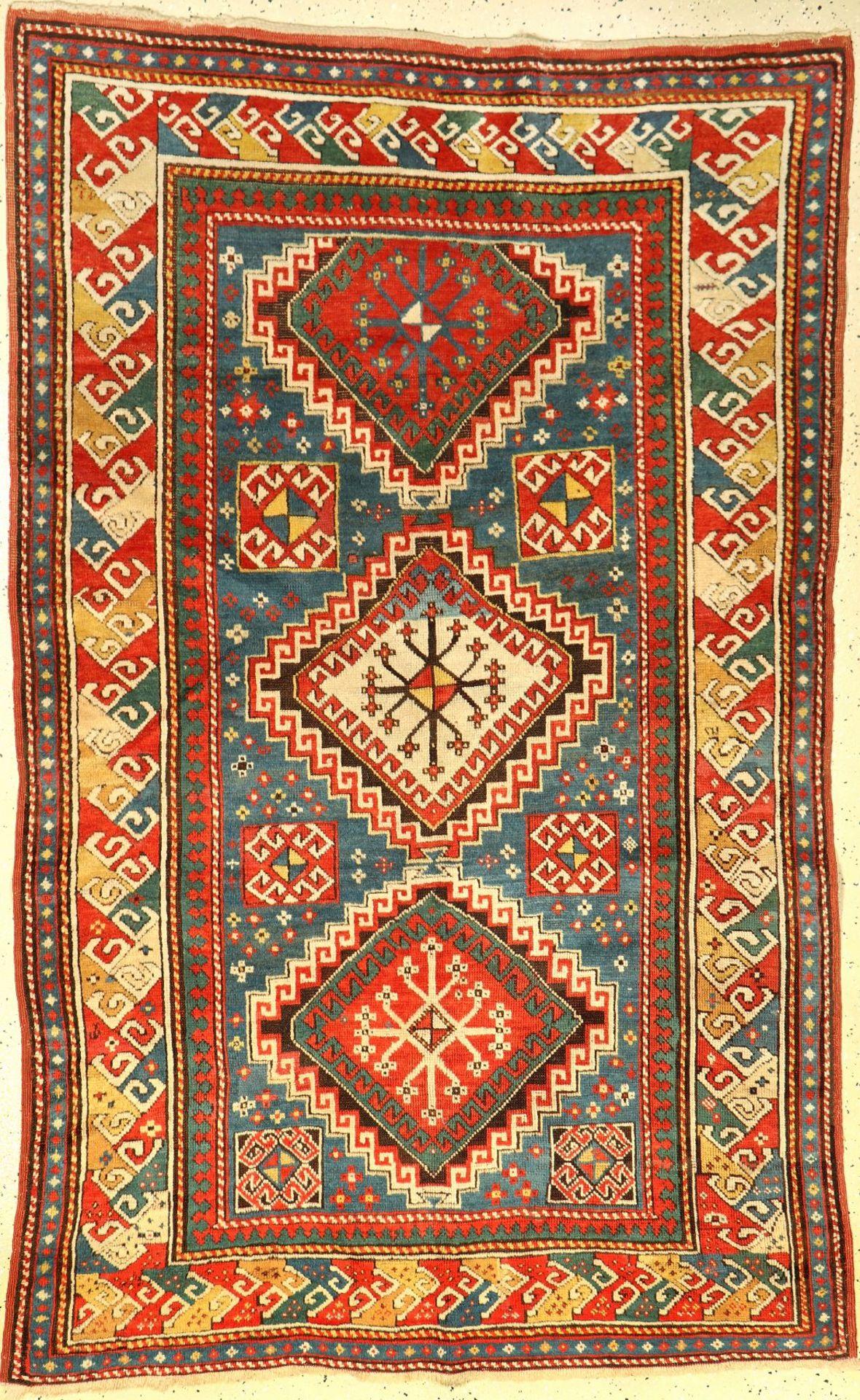 Kasak antik, Kaukasus, 19.Jhd., Wolle auf Wolle, ca. 208 x 134 cm, Adlerschnabel Bordüre, EHZ: 2-