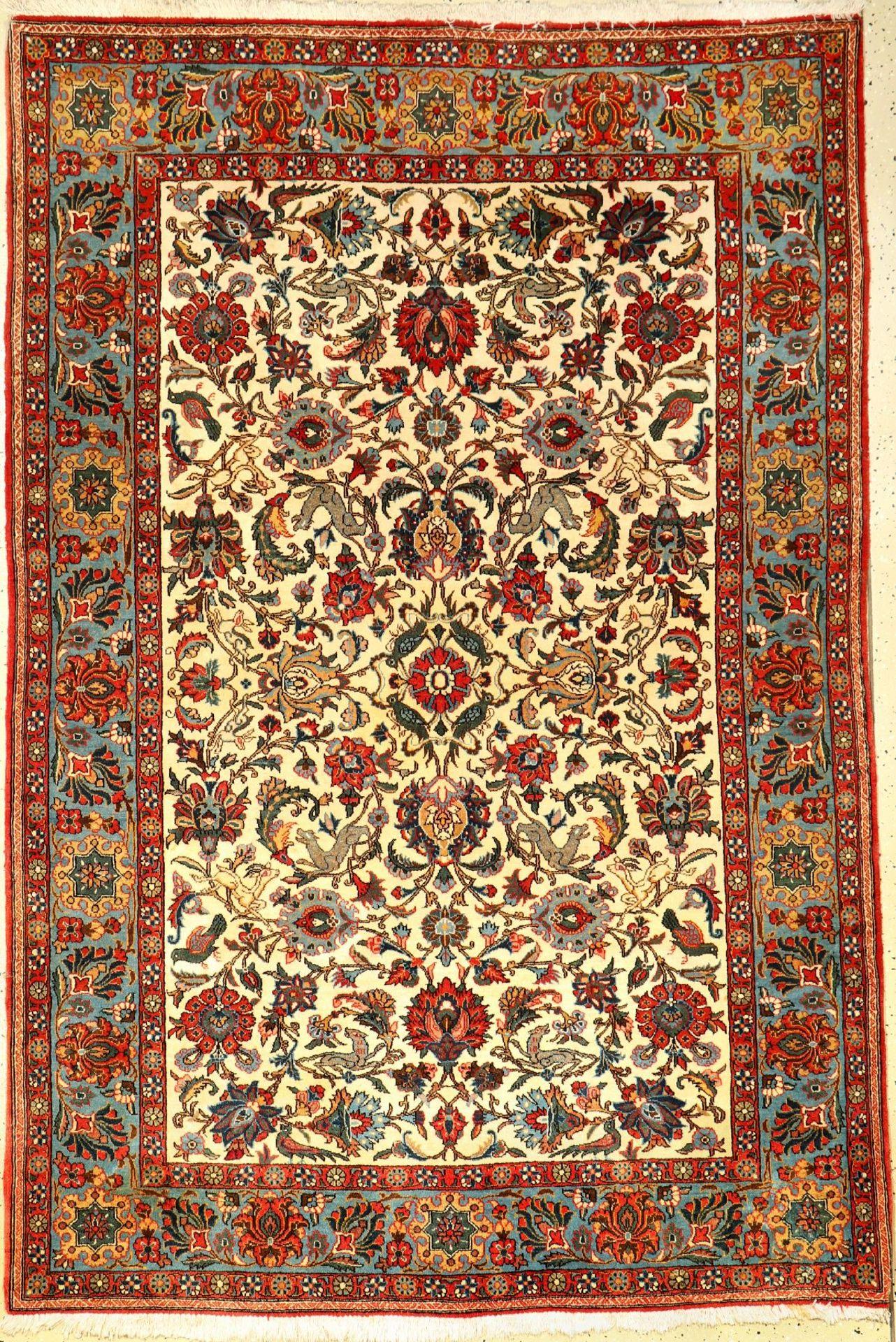 Feiner Ghom Kork alt, Persien, ca. 50 Jahre, Korkwolle, ca. 204 x 136 cm, EHZ: 2-3Fine Qom old,