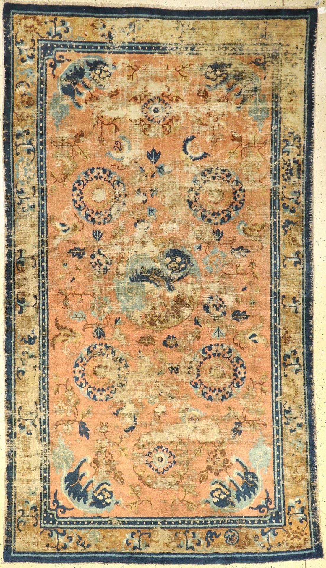 Früher Ning-Hsia antik, China, (Fo-Hunde), 18.Jhd., Wolle auf Baumwolle, ca. 278 x 156 cm, EHZ: