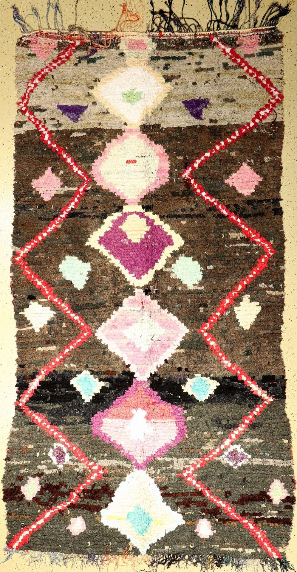 Marokko alt, um 1970, Stoff auf Baumwolle, ca. 285 x 147 cm, dekorativ, EHZ: 2Morocco old, around