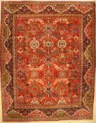 Großer Mahal antik, Persien, um 1920, Wolleauf Baumwolle, ca. 407 x 321 cm, (Alters und