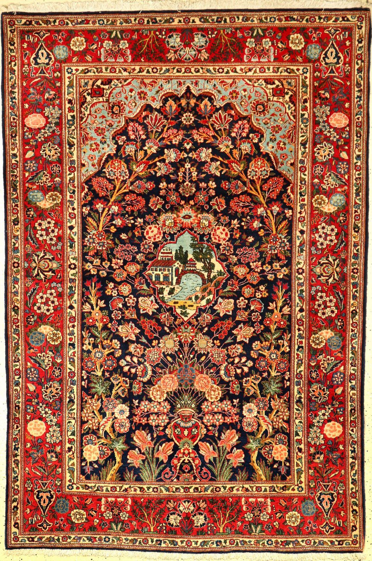 Keschan Kork alt, Persien, um 1940, Korkwolle, ca. 210 x 142 cm, EHZ: 2 , selten.Keschan old,
