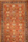 Großer Mahal antik, Persien, 19.Jhd., Wolleauf Baumwolle, ca. 582 x 355 cm, selten, (Alters und