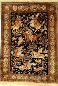 Seiden Ghom alt, Persien, ca. 50 Jahre, reine Naturseide, ca. 151 x 109 cm, EHZ: 2Silk Qom old,
