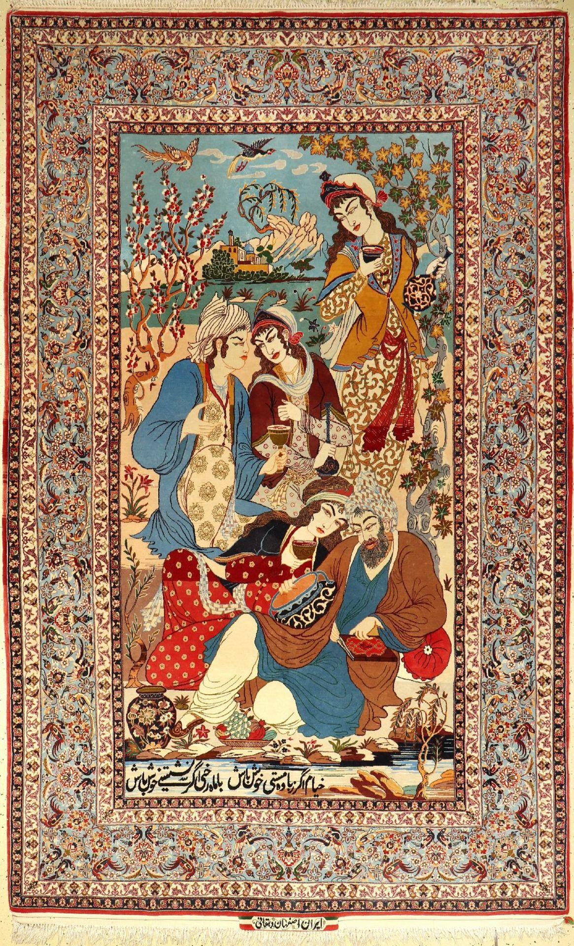 """Feiner Esfahan """"Dehgani"""" Bildteppich alt (Signiert), Persien, um 1960/1970, Korkwolle auf Seide, ca."""