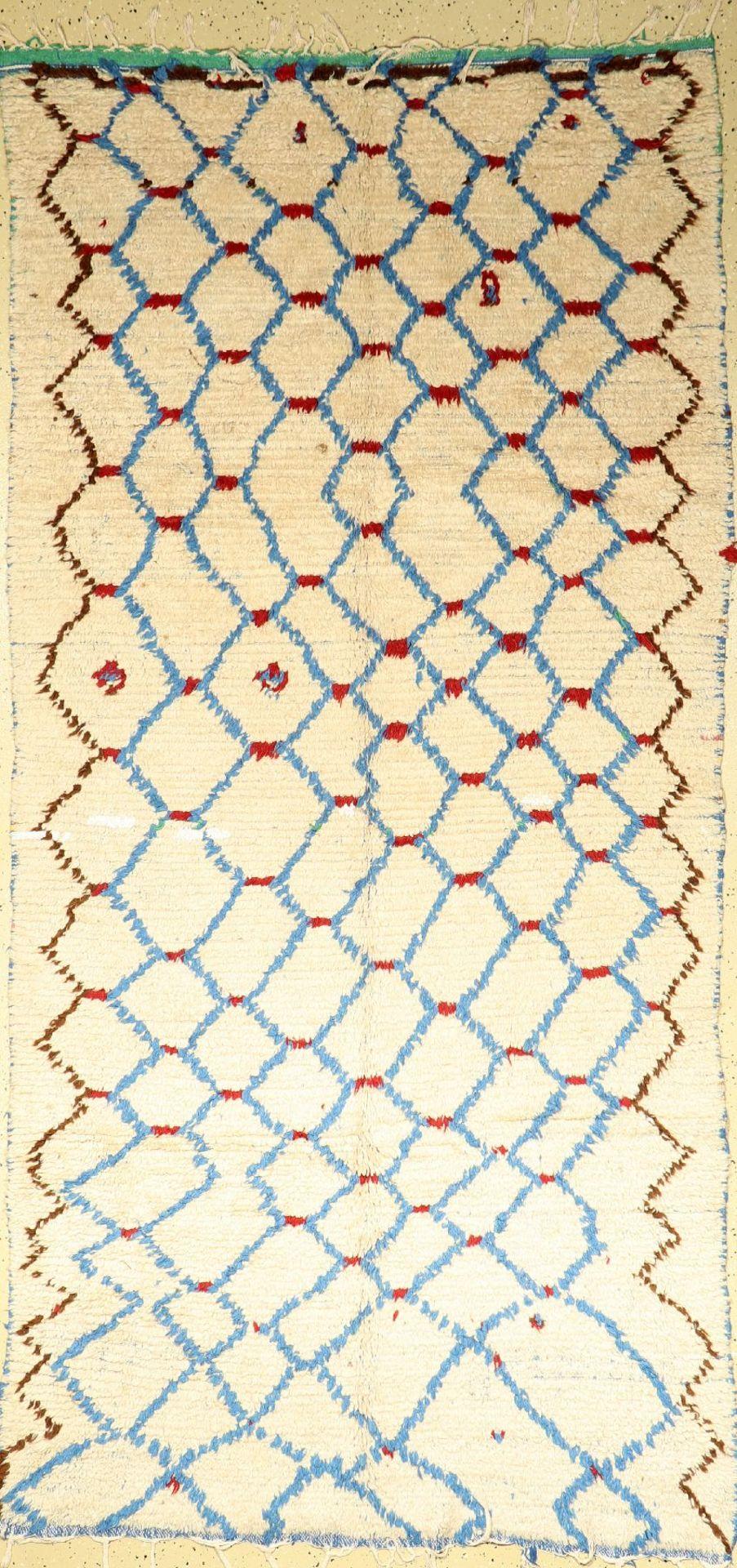 Marokko alt, um 1970, Stoff auf Baumwolle, ca. 274 x 132 cm, dekorativ, EHZ: 2Morocco old, around