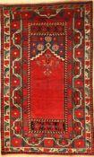 Anatolischer Gebetsteppich, alt, Türkei, ca. 70 Jahre, Wolle auf Wolle, ca. 216 x 129 cm, EHZ: