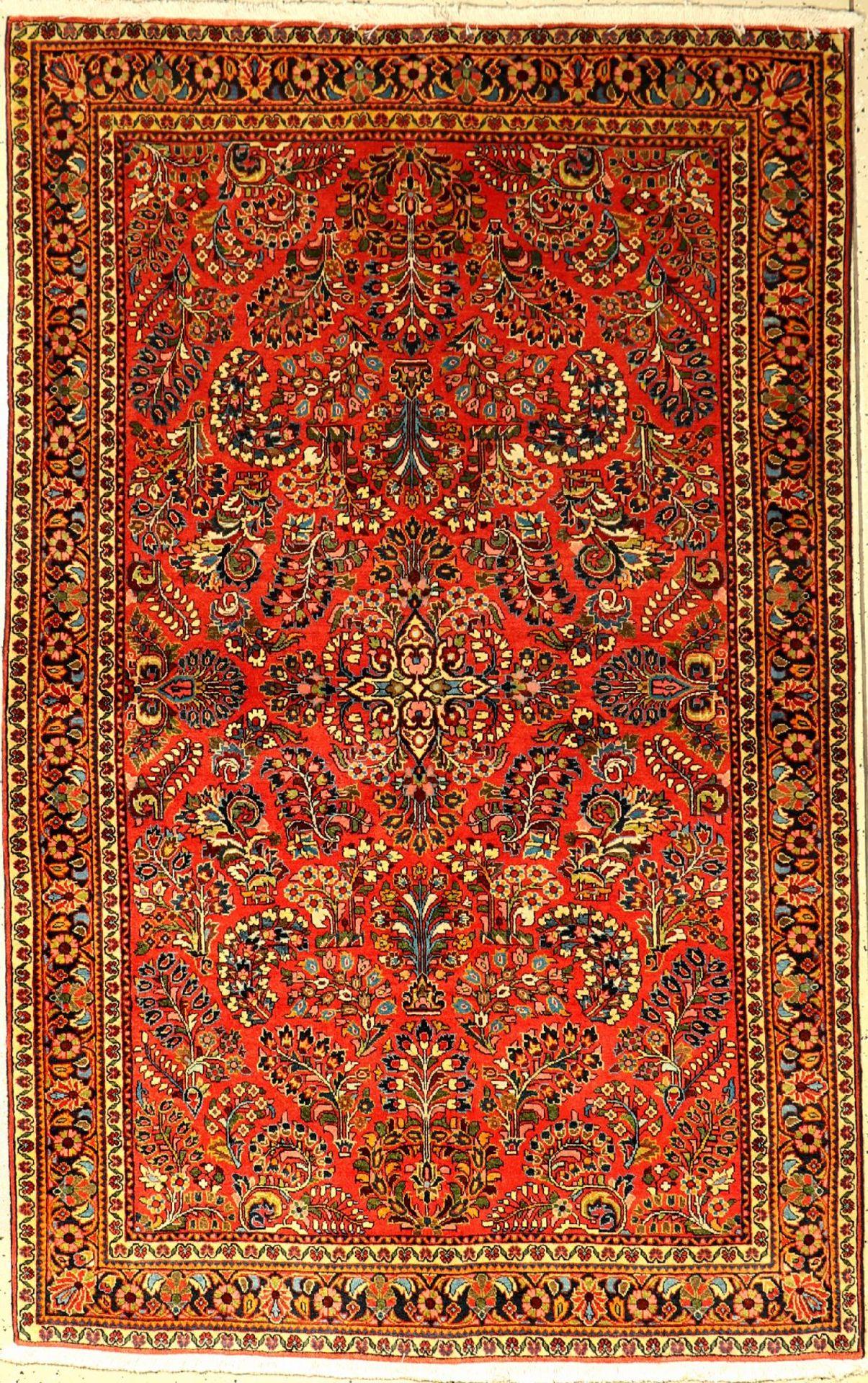 Feiner Sarogh alt, Persien, um 1940/1950, Korkwolle, ca. 205 x 130 cm, Hochwertig, EHZ: 2, (