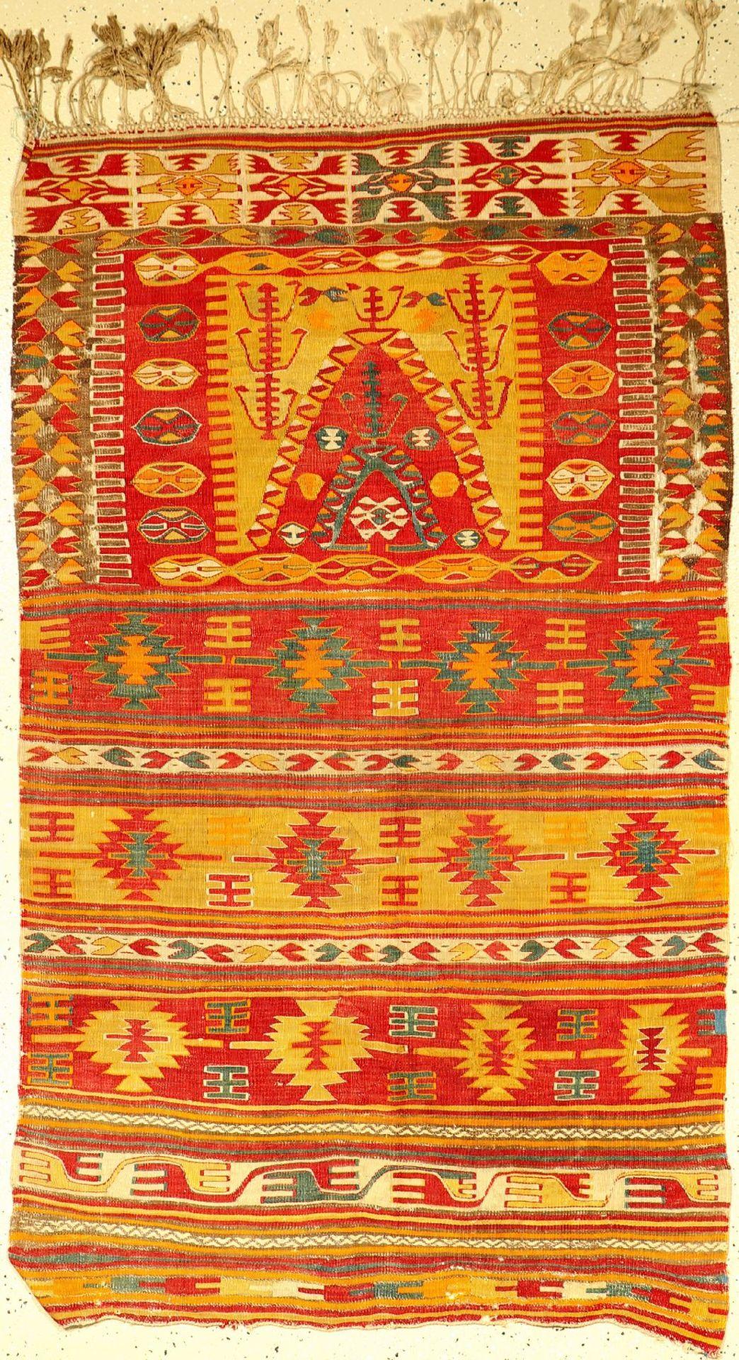 Anatolischer Kelim alt, Türkei, um 1920, Wolle auf Wolle, ca. 174 x 104 cm, EHZ: 4, (Löcher)