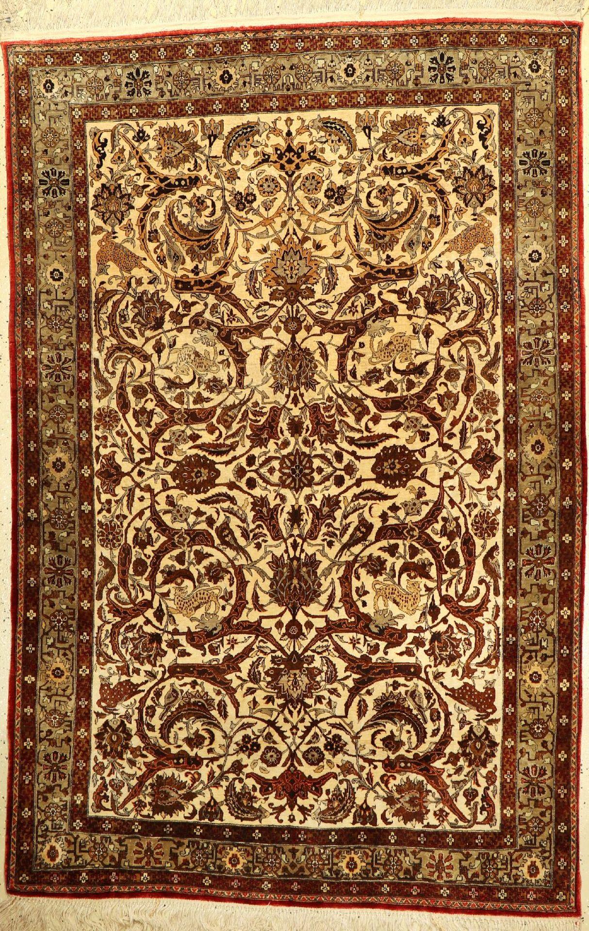 Feiner Seiden Ghom alt, Persien, um 1950, reine Naturseide, ca. 212 x 135 cm, sehr hochwertig,