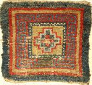 Wangden Drumtze antik, Tibet, 19.Jhd., Wolle auf Wolle, Aus der Sammlung Koos de Jong, ca. 80 x 76