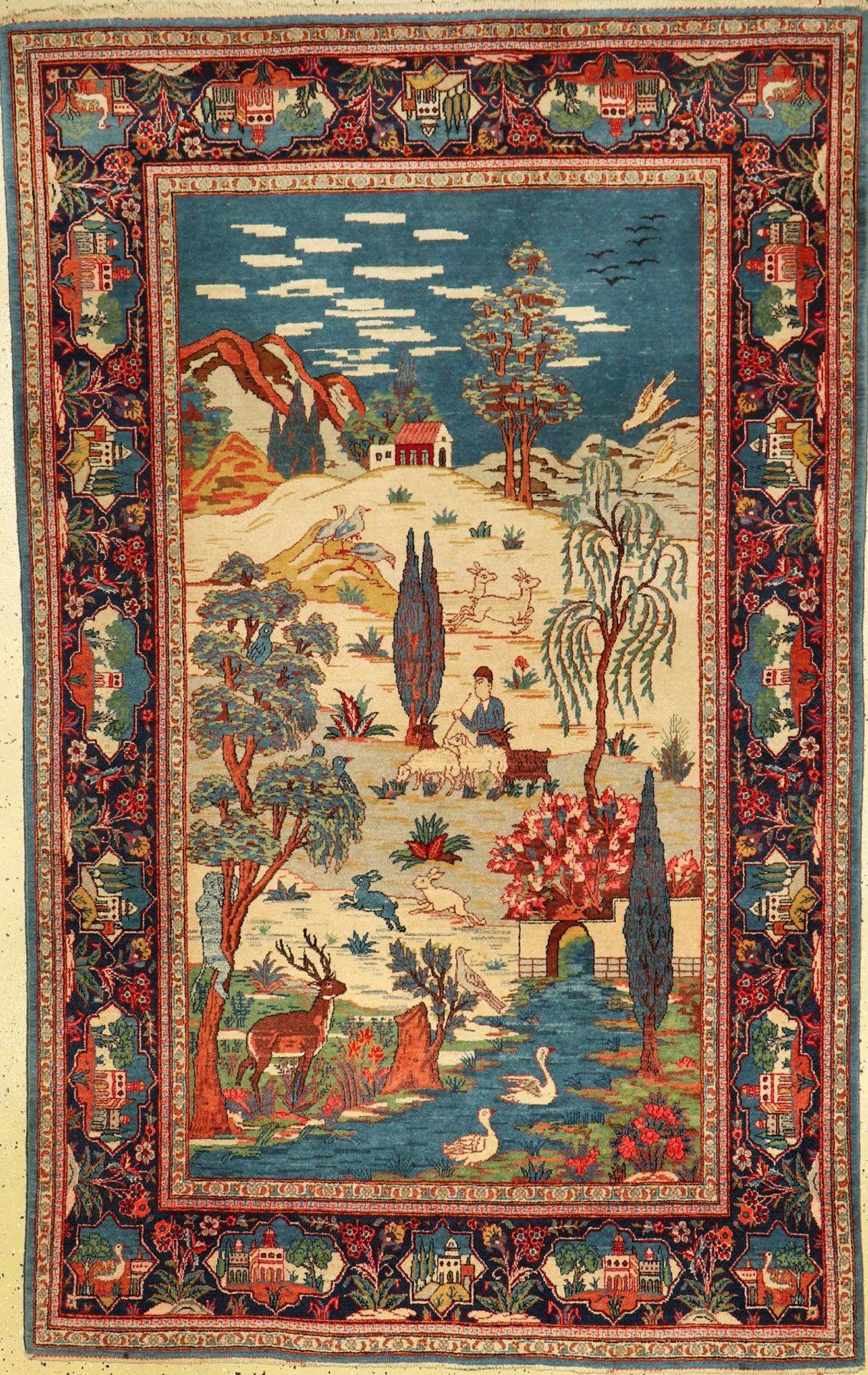 Keschan Kork alt, Persien, um 1930, Korkwolle, ca. 216 x 133 cm, EHZ: 2, seltenKeschan old,