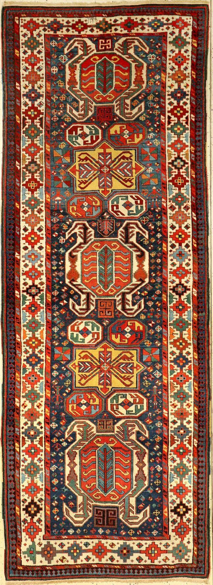 Lenkoran-Talish antik, Kaukasus, 19.Jhd., Wolle auf Wolle, ca. 303 x 110 cm, feine Qualität, gute