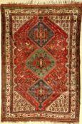 Khamseh antik (Chicken), Persien, um 1890, Wolle auf Wolle, ca. 255 x 171 cm, seltenes Muster,