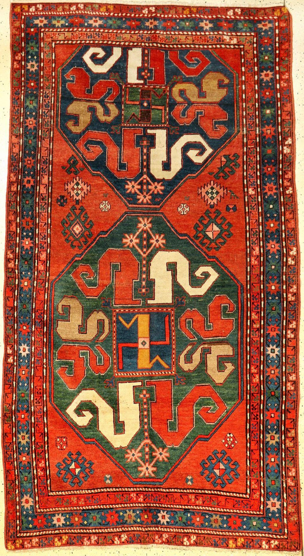 Chondsoresk Kasak antik, Kaukasus, Wolkenband-Kasak, um 1900, Wolle auf Wolle, ca. 243 x 135 cm,