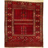 Tekke Bochara Engsi, Bochara, ca. 40 Jahre,Wolle auf Baumwolle, ca. 160 x 131 cm, feine Qualität.